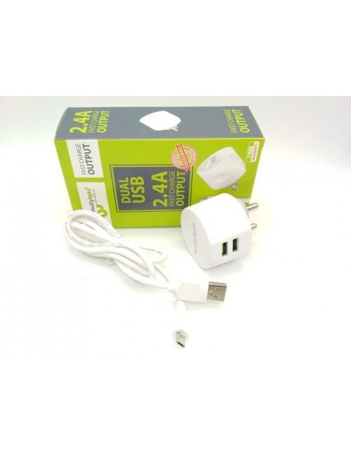 MULTYBYTE USB CHARGER 2 PORT WITH CABLE ROUND