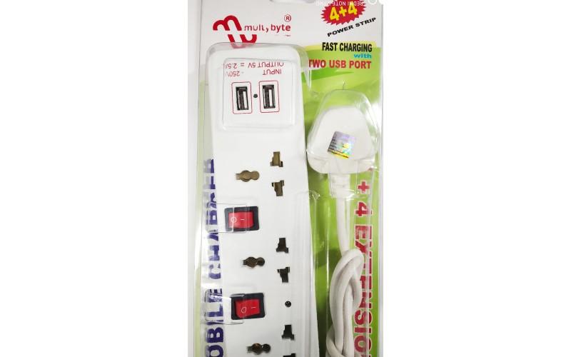 MULTYBYTE SPIKE 4 SOCKET 4 SWITCH 2 USB  2.0M