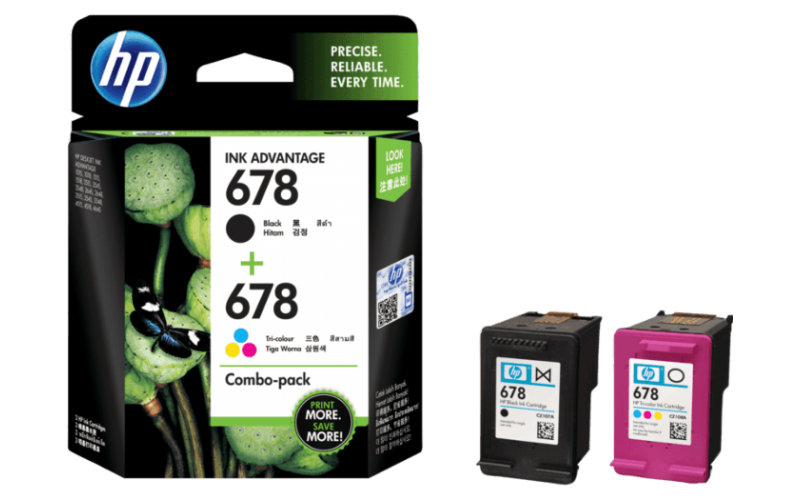 HP INK CARTRIDGE 678 TRI-COLOR & BLACK COMBO 2 PACK (ORIGINAL)