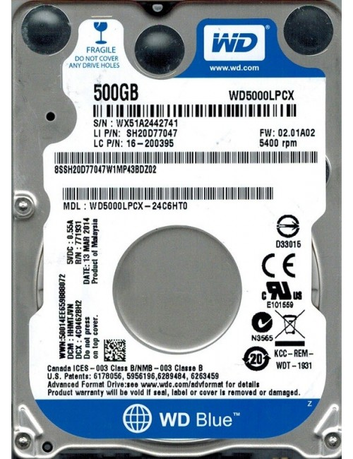 WD LAPTOP 500 GB (BLUE)