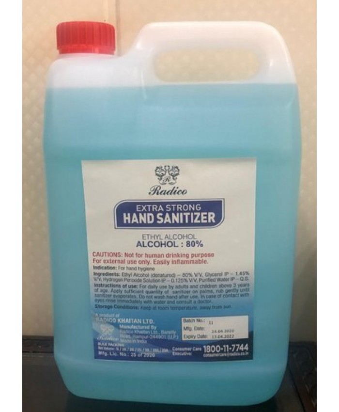 RADICO HAND SANITIZER (80% ETHYL ALCOHOL) 5LTR
