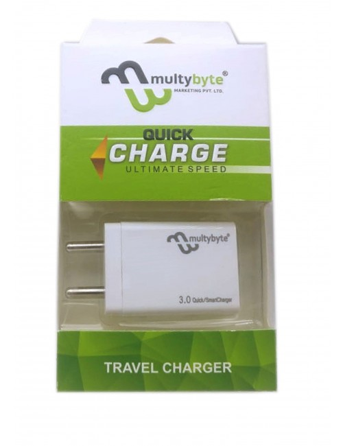 MULTYBYTE AC/USB CHARGER 5V TO 3.0 AMP WITH CABLE