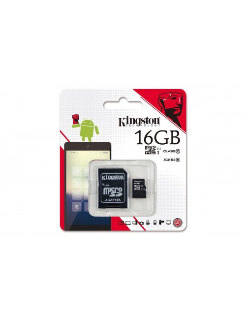 KINGSTON MICRO SD 16 GB MEMORY CARD CLASS 10