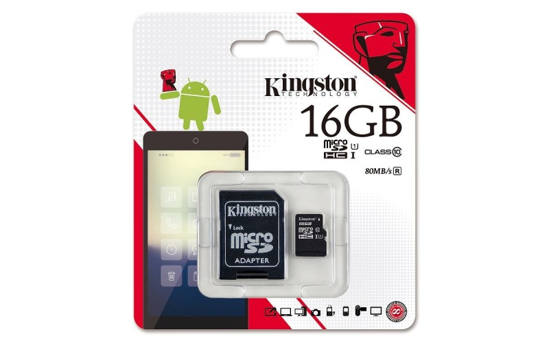 KINGSTON MICRO SD 16 GB MEMORY CARD CLASS 10