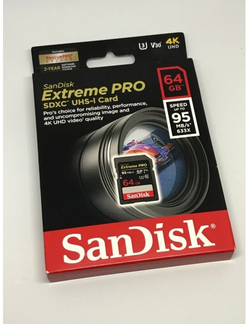 SANDISK EXTREME PRO SDXC 64 GB MEMORY CARD CLASS 10