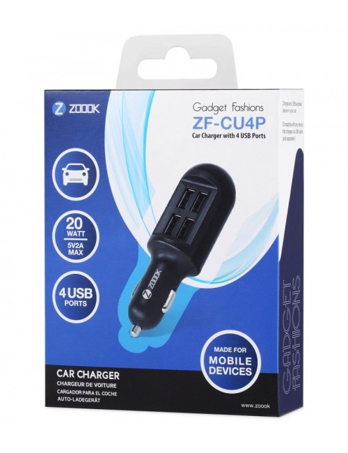 ZOOOK USB CAR CHARGER (ZFCU4P) WITH 4USB PORT