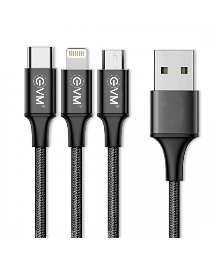 EVM TYPE C|MICRO|IPHONE CHARGER CABLE 3 IN 1