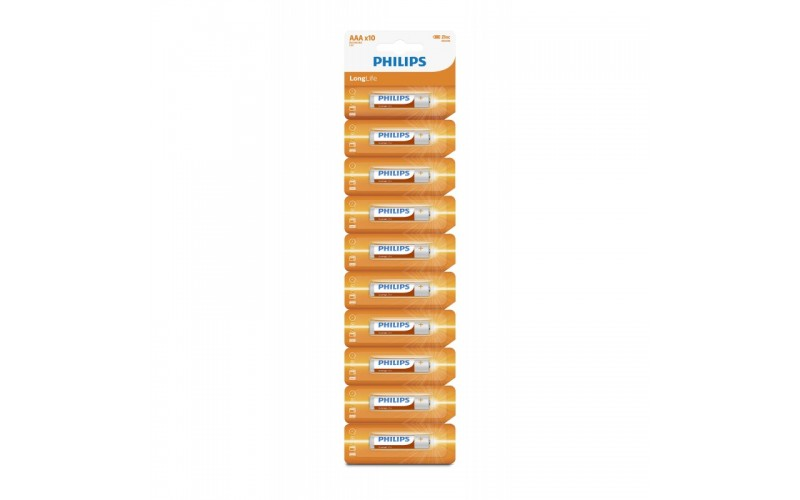 PHILIPS ZINC CHLORIDE AAA BATTERIES R03 MICRO (Pack of 10)