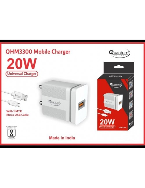 QUANTUM MOBILE CHARGER WITH MICRO USB CABLE 20W (UNIVERSAL) QHM3300