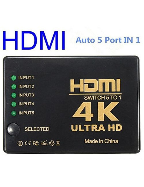 HDMI SWITCHER 5 PORT WITH REMOTE 4K