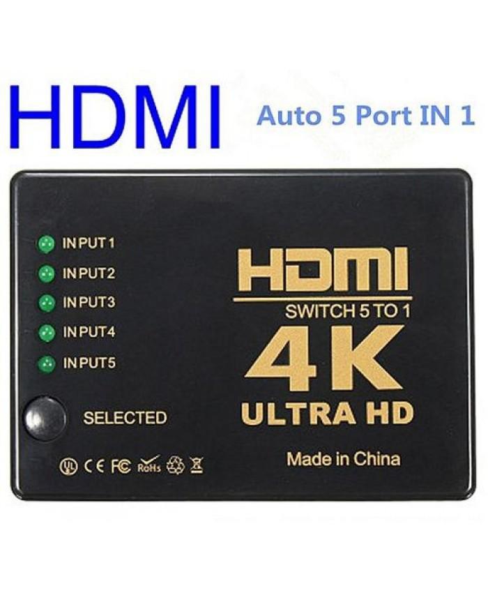 HDMI SWITCHER 5 PORT WITH REMOTE 4K