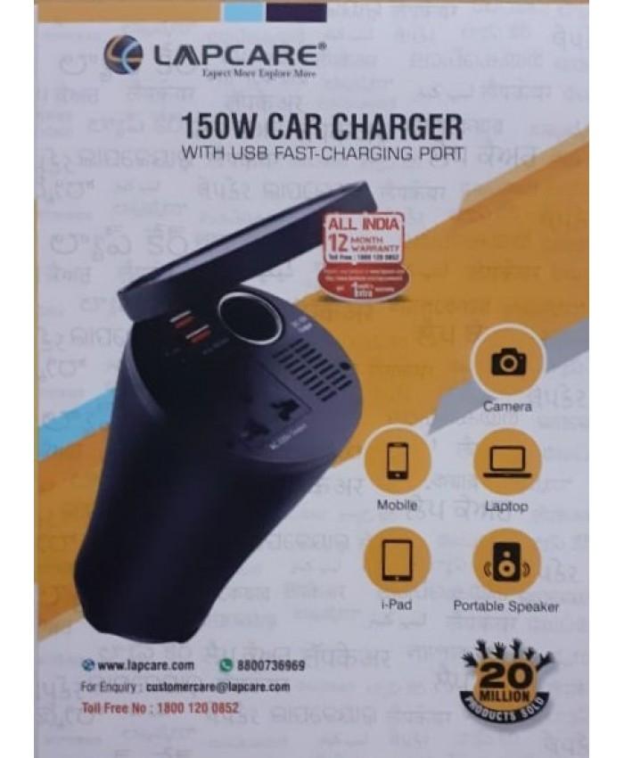 LAPCARE CAR CHARGER 150W WITH 2 PORT USB, 1 AC 220V, DC 12V