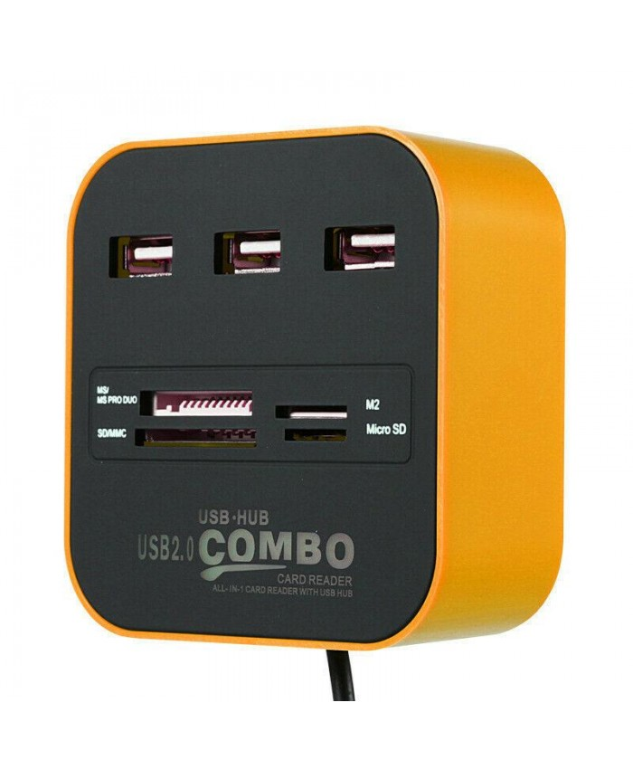 USB HUB 3 PORT 2.0 (TRAVEL HUB) WITH CARD READER (OEM)