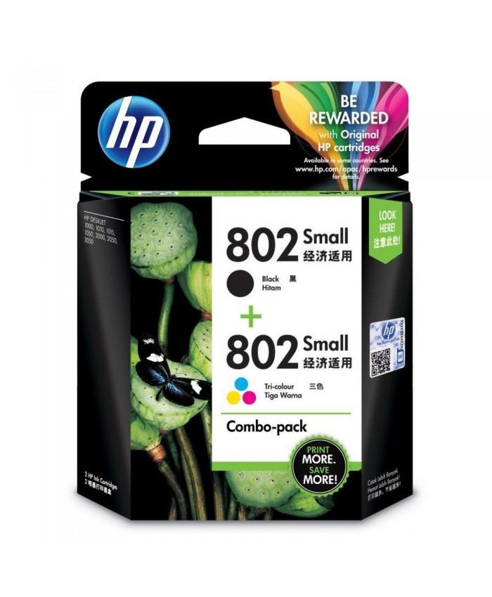 HP INK CARTRIDGE 802 TRI-COLOR & BLACK COMBO PACK (ORIGINAL)