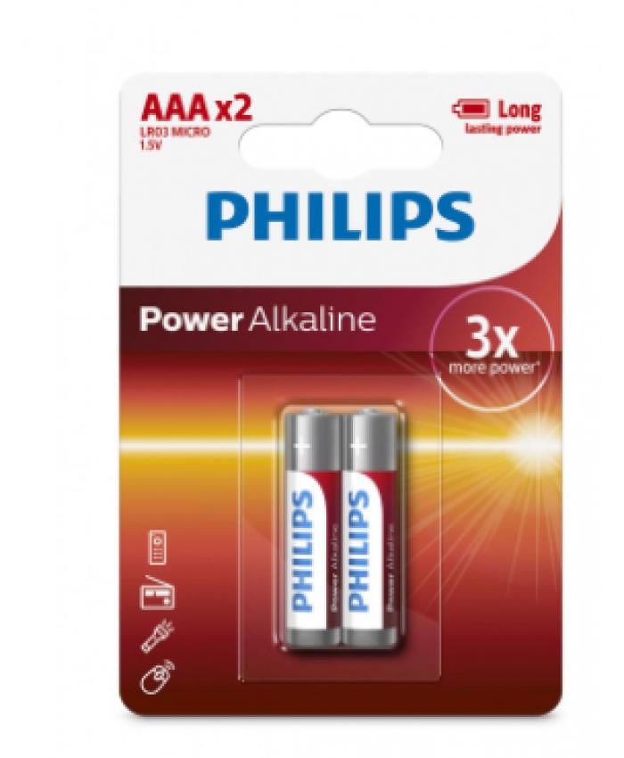 PHILIPS ALKALINE AAA*2 BATTERIES (Pack of 2)