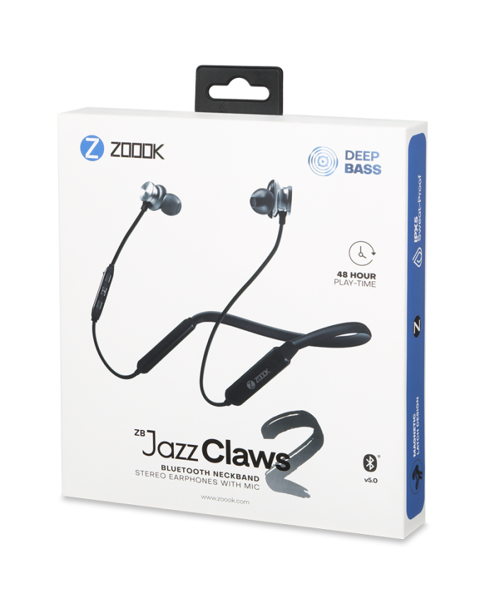 ZOOOK BLUETOOTH EARPHONE NECKBAND WITH MIC (JAZZ CLAWS 2)