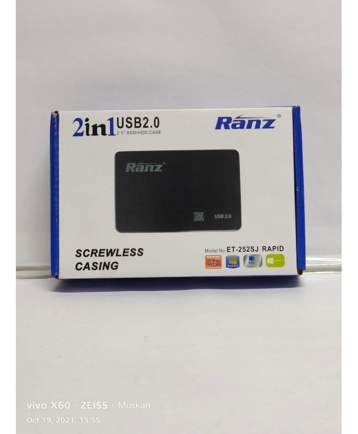 """RANZ SSD HDD SATA CASING 2.5"""" USB 2.0 2 IN 1 (PLASTIC)"""