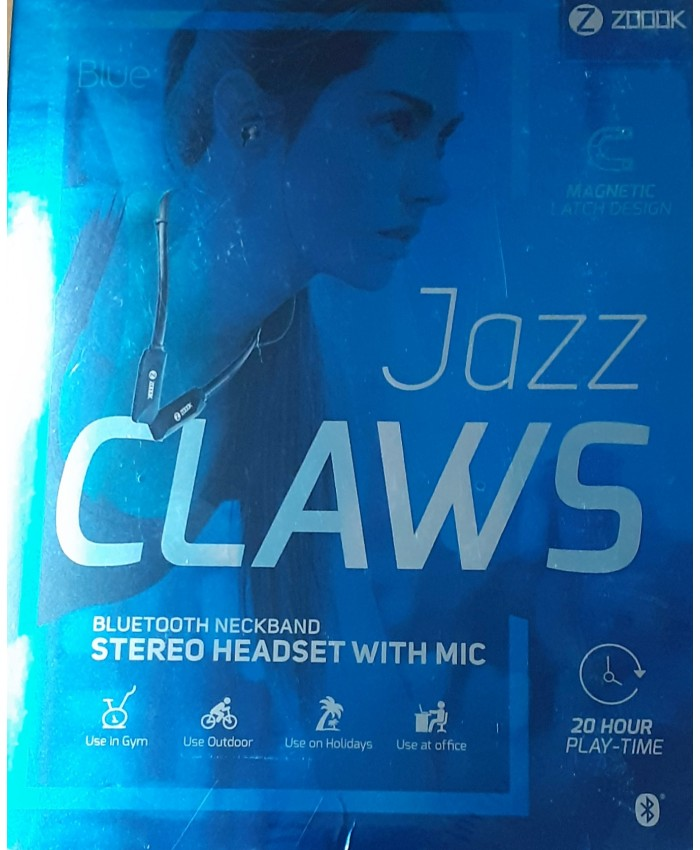 ZOOOK BLUETOOTH NECKBAND EARPHONE WITH MIC (JAZZ CLAWS)