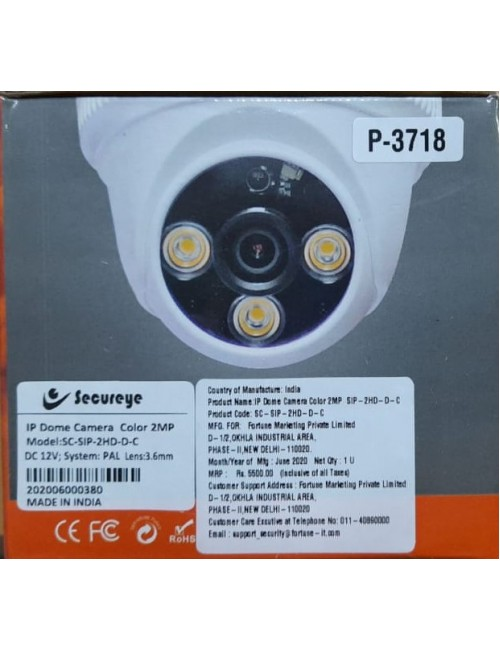 SECUREYE IP DOME 2MP COLOR NIGHT VISION