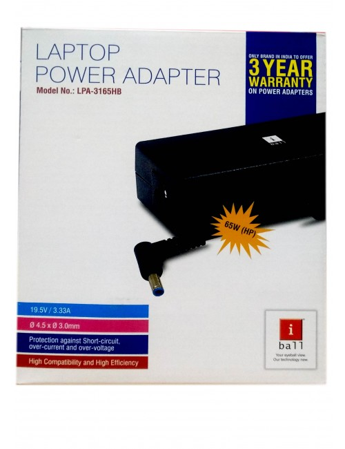 IBALL LAPTOP ADAPTOR 19.5 / 3.33A (65W )H BLUE PIN LPA-3165HB