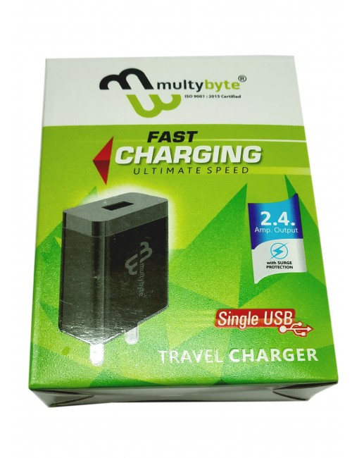 MULTYBYTE AC/USB CHARGER 5V TO 2.4AMP WITH CABLE