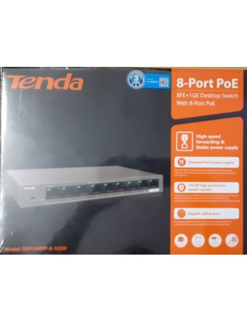 TENDA POE SWITCH 8 PORT 1109TP (8 + 1 UP LINK)