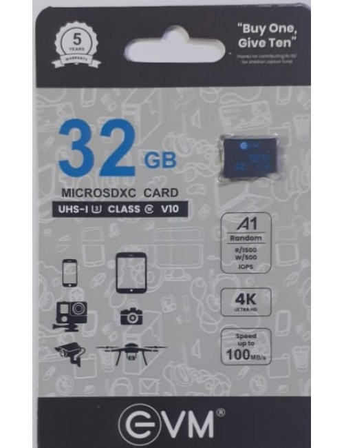 EVM MICRO SD 32GB MEMORY CARD A1 100MBPS