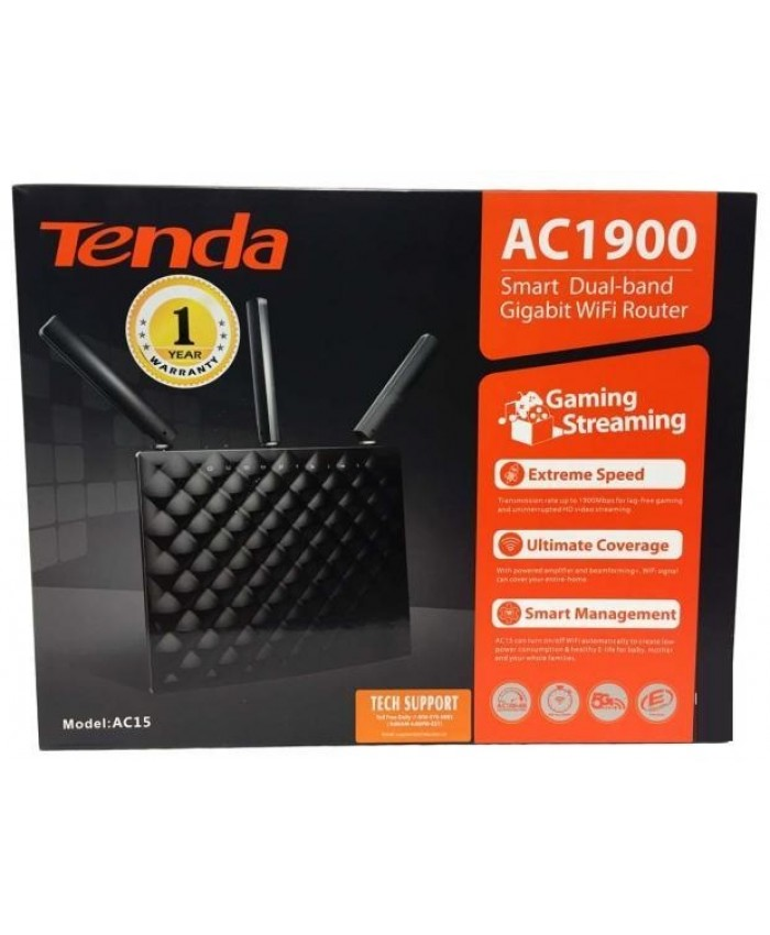 TENDA WIRELESS DUAL BAND GIGA ROUTER 1900 MBPS AC15