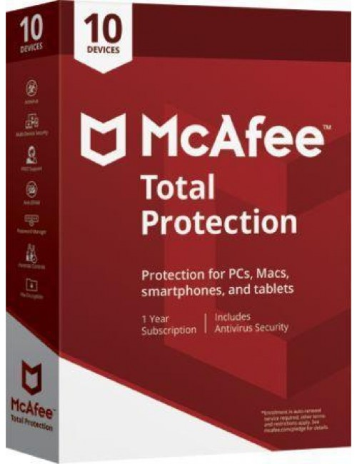 MCAFEE TOTAL PROTECTION 10 USER / 1 YEAR