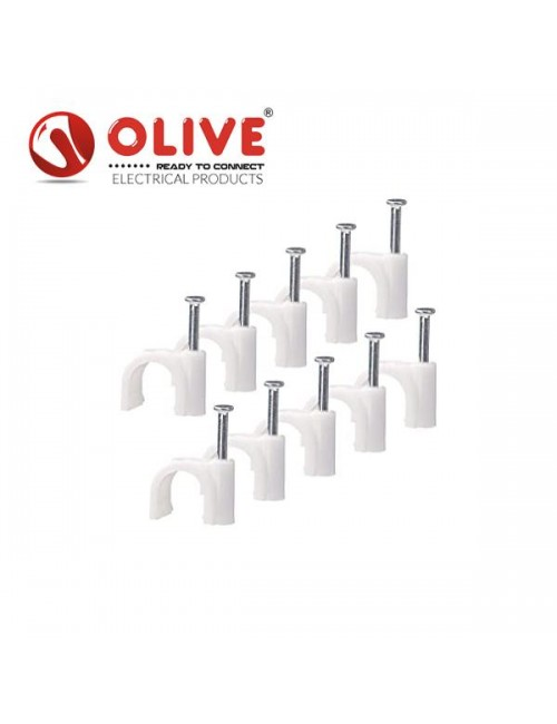 OLIVE CABLE CLIP 7MM  (PACK OF 100PCS)