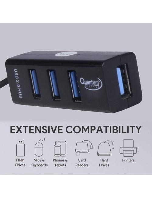 QUANTUM USB HUB 4 PORT 2.0 QHM6642 (1 YEAR)